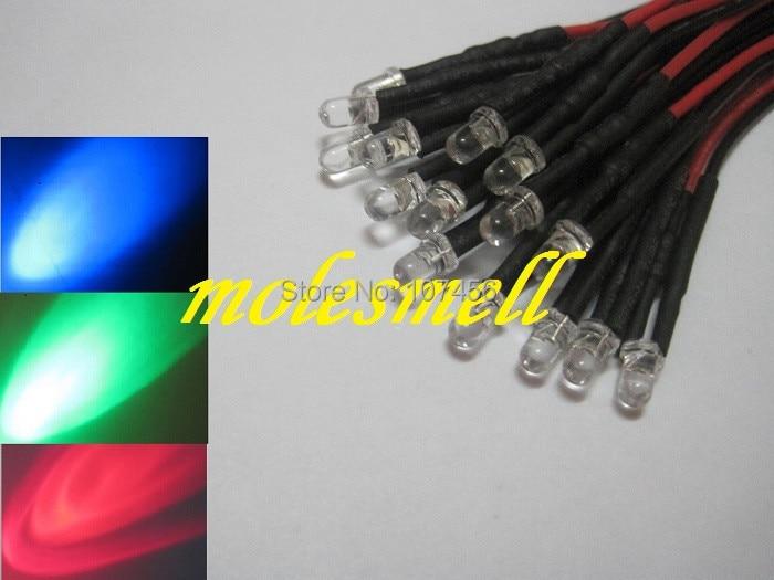 Free Shipping 100pcs 3mm 5v Red/blue/green Rgb Fast Flashing Flash LED Light Set Pre-Wired 3mm 5V DC Wired Blinking Rgb Led