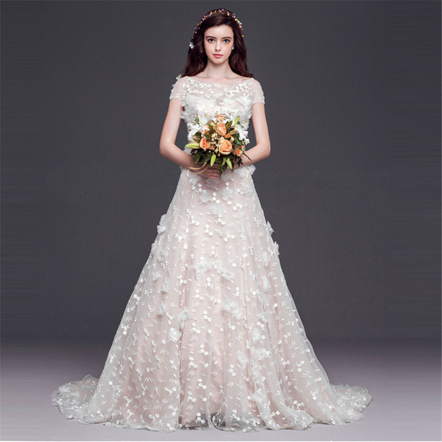 MANSA 2015 Sexy Pearl Wedding Dress With Flowers Custom Made Wedding Gowns  Vestido De Novia Vintage 1672b5b237b6