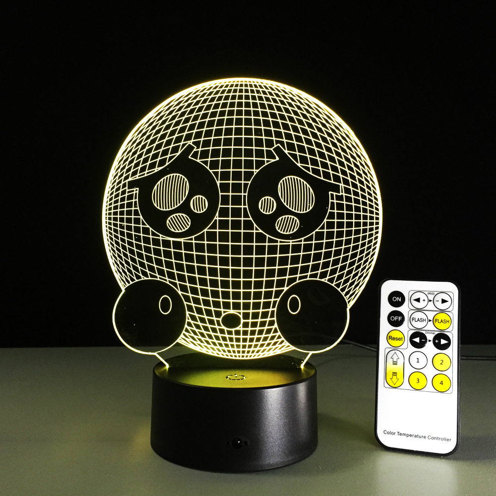Remote Control Crying Face Shape 3D Night Light LED Vision 7 Color Changing USB Table Acrylic Lovely Lamp For Baby's Toy Gift