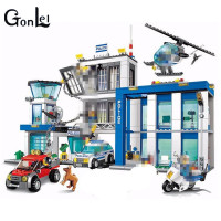 GonLeI 10424 City Police Station 60047 Model Compatible LEPIN Bricks Figure Educational Toy For Children