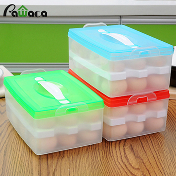 Portable Double-layer 24 Grids Egg Storage Box Egg Container Organizer Refrigerator Egg Fresh-keeping Food Storage Box Tray Case herramientas para el aseo de la casa