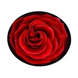 Wysokiej jakości 3D Red Rose okrągły dywan średnica 60/80/100/120/160CM poliester dywan do salonu krzesło dywan mata do kąpieli Home udekoruj w Dywany od Dom i ogród na