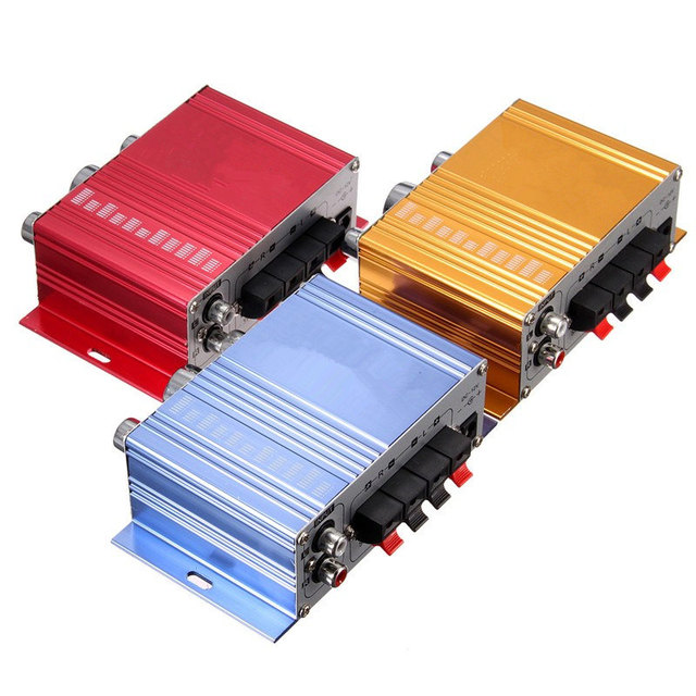 12V Hot Selling Mini  Hi-Fi Stereo Amplifier Audio  MP3 Auto Car 2 Cananal Stereo DVD Speaker Blue Red Yellow