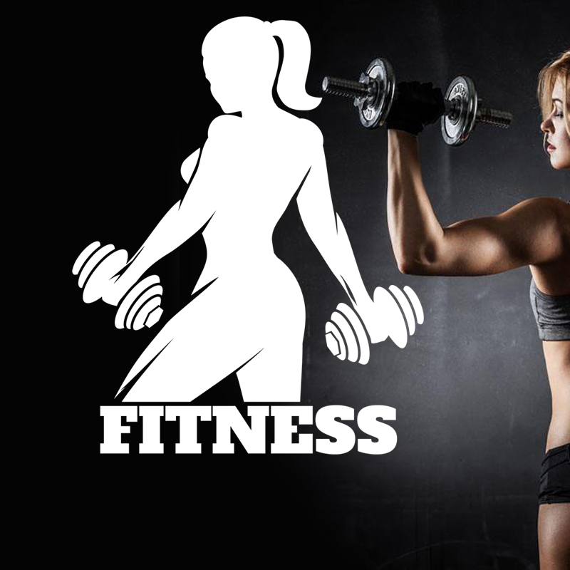 Fitness Gym Club Name Sticker Girl Dumbbells Crossfit Decal Body-building Posters Vinyl Wall Decals Parede Decor Gym Sticker