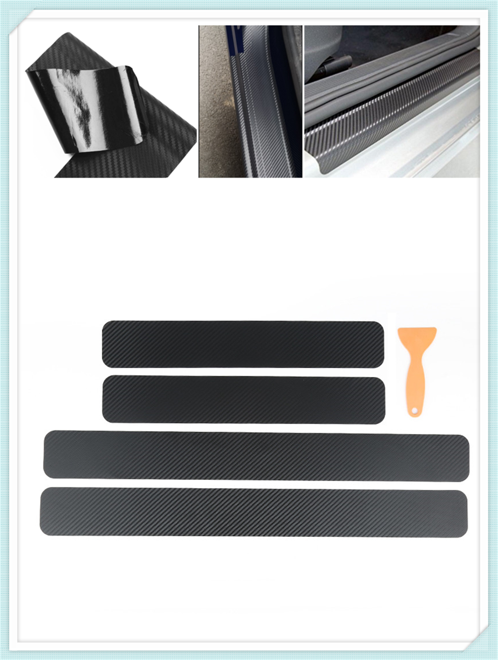 4 pieces of car shape carbon fiber door edge scratch protection film for Nissan NV200 Nuvu NV2500 Forum Denki 350Z Zaroot image