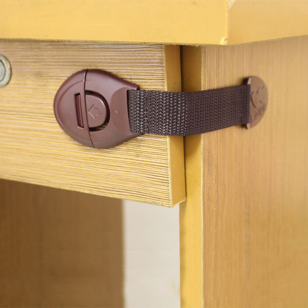 10pcs/lot Brown Cabinet Safety Lock For Baby Furniture Door Drawer Lock Refrigerator Safety Locks Child Proof Infant Protector