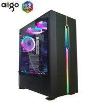 Aigo T20 Desktop PC computer Case ATX/Micro ATX RGB light strip Transparent Side Home Office Black Gaming Computer Case Chassis