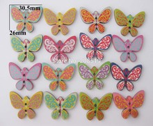 WBNSWS 26MM*30MM Butterfly Pattern Nature wood painting buttons mixed 150pcs/lot sewing scrapbooking accessory