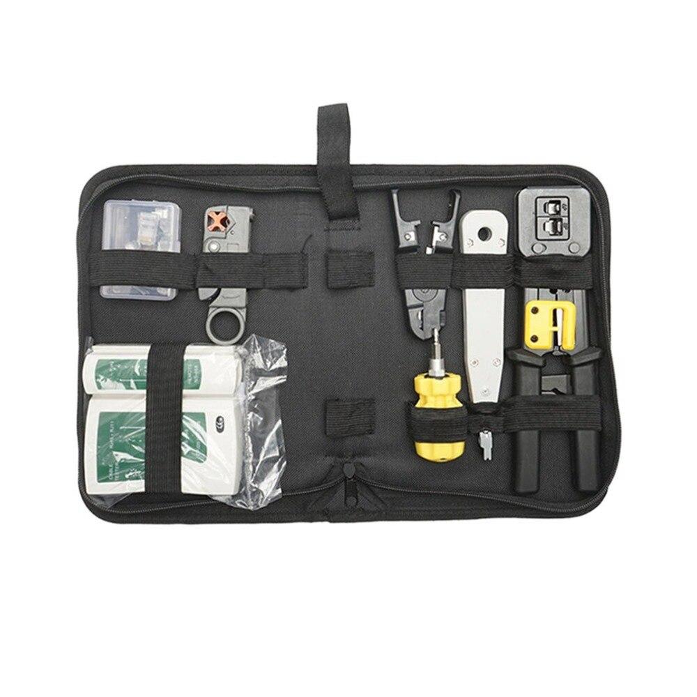 Kit d'outils réseau ensemble d'outils de réparation de réseau trois avec pince de câble coupe-fil dénudeur Instrument de Test de réseau 9 pièces