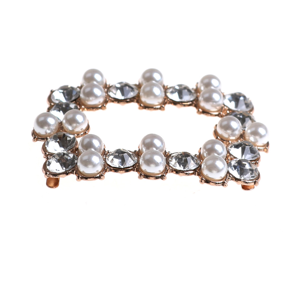 1PCS Faux Pearl Crystal Rhinestones Charm Shoe Clips Bridal Shoes Rhinestone Clip Buckle Decorative Accessories faux pearl