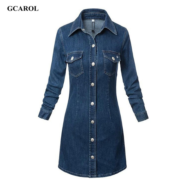 Женщины новое поступление однобортный кнопка джинсовое платье мода джинсы платье с двумя карманами Большой размер XL Ladies'Sexy платьеплатье женскоеджинсовое платьеплатья больших размеровбольшие размерыплатье осень