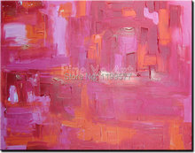 Abstract modern large canvas wall art handpainted decorative pink Knife paint oil painting on canvas for living room decoration