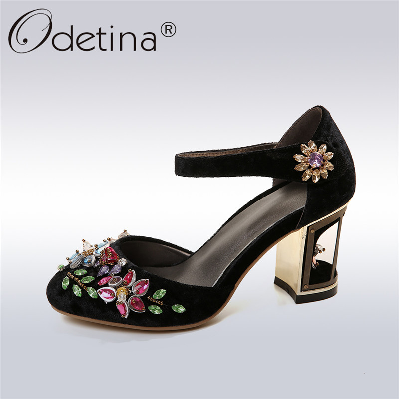 Odetina 2018 Fashion Genuine Leather Marry Jane Shoes Buckle Ankle Strap Crystal Woman Dress Shoes Fretwork Heel Big Size 33-43 термобелье джемпер montero цвет черный mpfz 02 размер 52 54