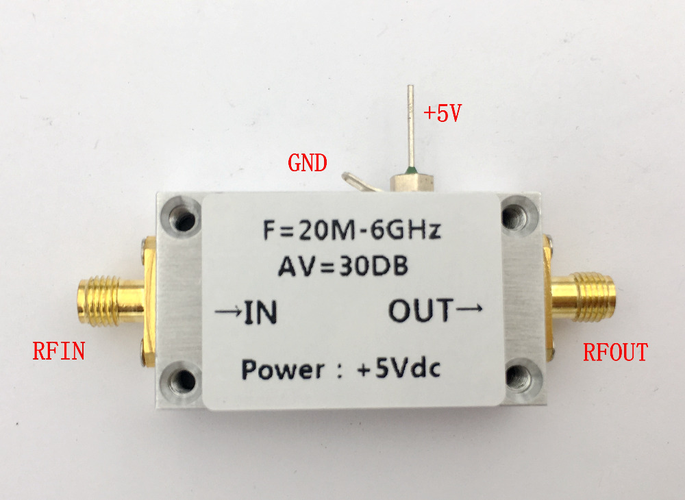 LNA 20MHZ -6GHZ Gain 30dB Low Noise Amplifier RF Amplifier High Linearity CNC case HF VHF/UHF Ham Radio image