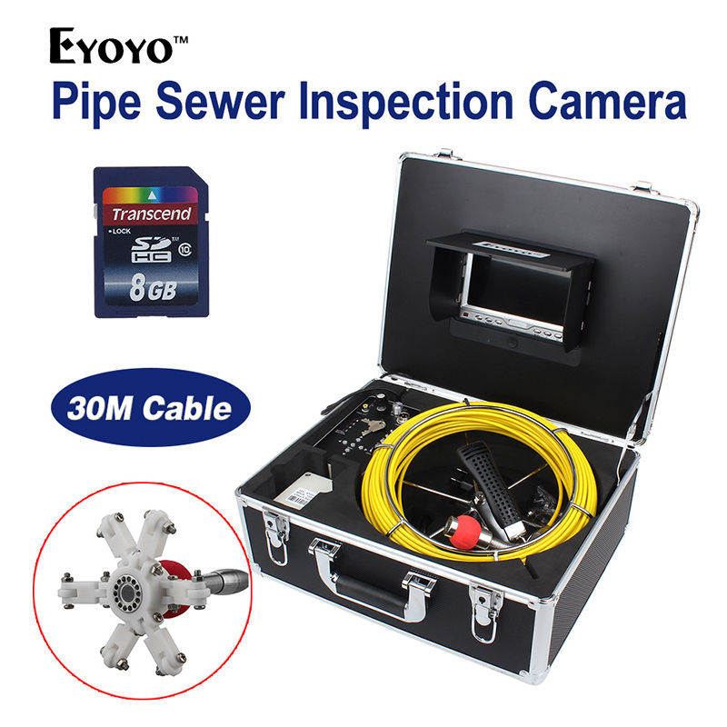 Eyoyo 30M 98FT Sewer Waterproof Video Camera 7LCD Screen 120 Degree Drain Pipe Inspection DVR 12 Led W/ 4500MAh Battery eyoyo 7 lcd screen 20m 800 480 1000tvl 4500mah sewer drain camera pipe wall inspection endoscope w keyboard dvr recording 8gb