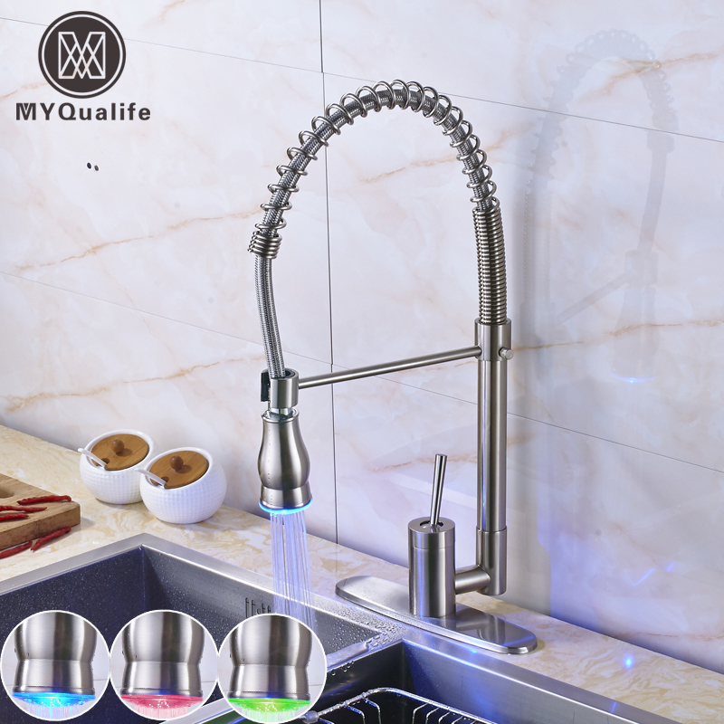Nickel Brushed One Handle LED Light Kitchen Mixer Crane Deck Mounted Color Changing Bathroom Kitchen Faucet 10 Decorate Cover P