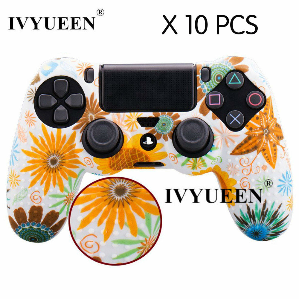 IVYUEEN 10 pcs Wholesale For Dualshock 4 PS4 Pro Slim Controller Silicone Skin Water Transfer Printing Case for PlayStation 4