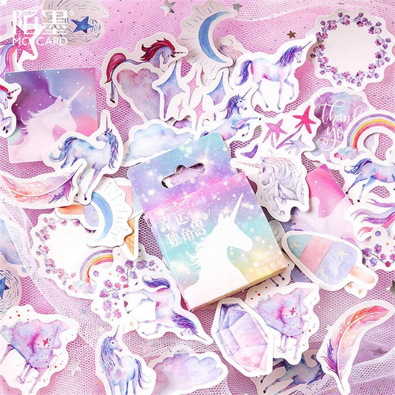 Gran oferta 45 unids/set Kawaii unicornio Bloc de notas pegatina de papel para decoración DIY álbum de recortes pegatina Kawaii papelería regalo