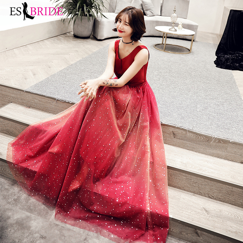 2019 real photo evening gowns for women elegant red starry sky evening dresses long sexy sleeveless