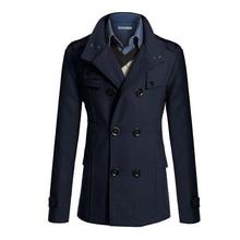 SAF-Slim Fit Langen Mantel Warm Zweireiher Peacoat Mantel Jacke vier farben
