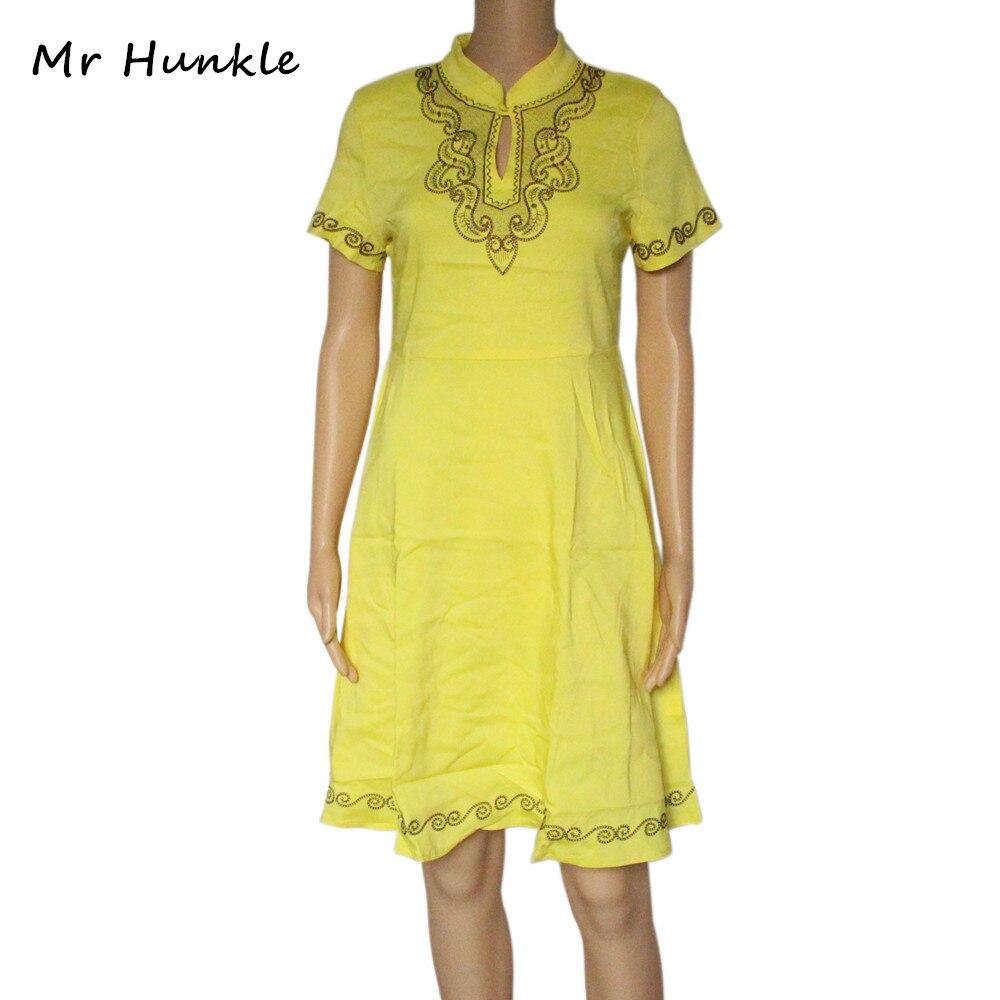 Mr hunkle women vintage dashiki dress a line embroidery