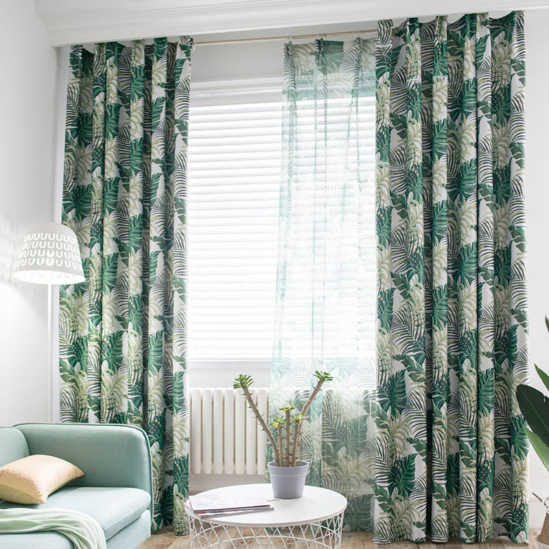 Tropical Printed Blackout Curtains For Living Room Green Leaves Palm Tree Tulle Veil Liner Bedroom  Cortinas Window Treatments