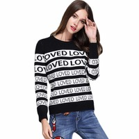 Unisex Man Sweaters Autumn Winter Thick Warm Letter Loved Sweater Women Casual Plus Size Rabbit Velvet