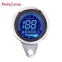 Motolovee Universal 12V Multi-function LCD Modified Motorcycle Instrument Digital Backlight Fuel Oil Gauge Meter Speedometer
