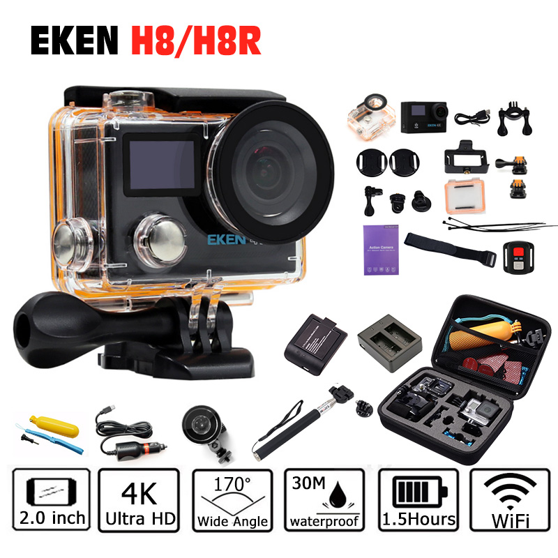 EKEN H8 H8R Action Camera 4K/30fps 1080p/60fps + 2.0 Dual Screen WiFi Remote control Waterproof cam go sport Camera pro original eken h8r h8 ultra hd action camera with 4k 30fps resolution and 30m waterporoof 2 0 screen cam go sport camera pro yi