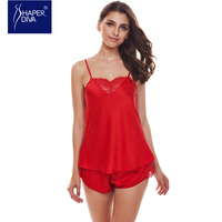 Burvogue Women New Spaghetti Strap Lace Pajamas Sexy Pajama Sets Deep V Camisole Satin Pajamas Shorts