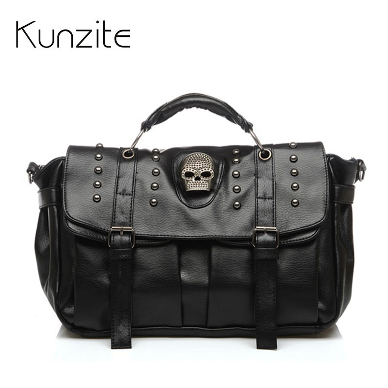 Sac A Main Women Leather Handbag Skull Rivet Female Shoulder Bag Fashion Crossbody Bag Casual Tote Bags  Bolsa Feminina Hangbags bao bao fashion fresh floral girls shoulder bags female handbag canvas small crossbody bag for women sac a main bolsas b086