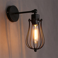 L75 Retro Loft Wall Lamp Vintage E27 Wall Light Plated Iron Retro Up Down Rustic Industrial Sconce Home Lighting Bedside Lamp