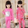 Niñas Fleece Lined pijama Set Hello Kitty juegos de ropa del bebé invierno ropa navidad pijamas 1195