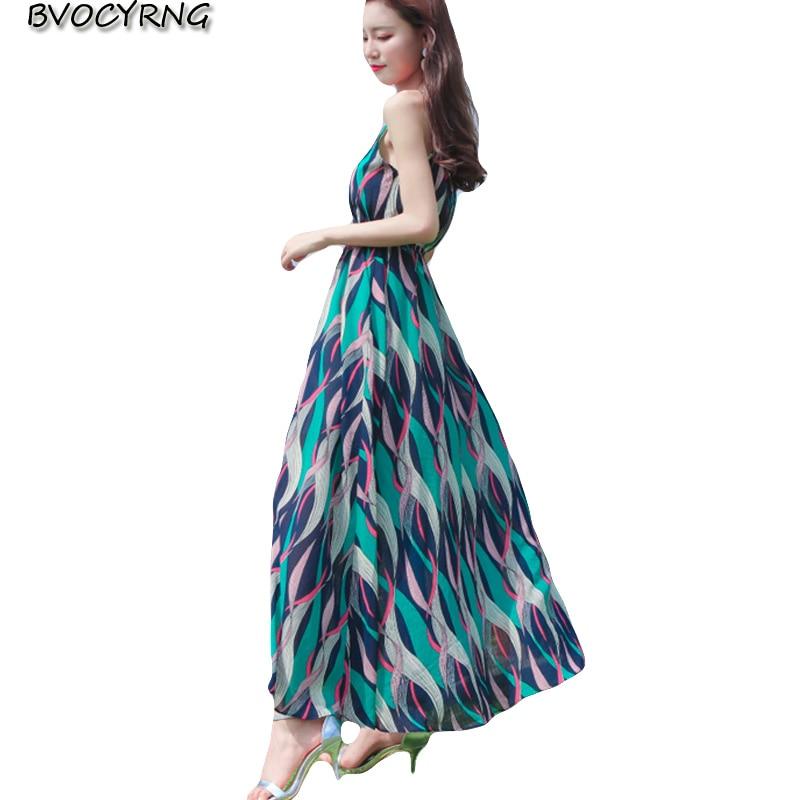 Robes de plage femme 2018 nouvelles femmes robe de mode sangle Sexy robe d'été bohème longue en mousseline de soie Vestido de haute qualité A0602