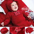 Novo 2016 primavera outono crianças camisola para as meninas roupas de bebê bebê meninas blusas de malha pullover crianças camisola vermelha do natal