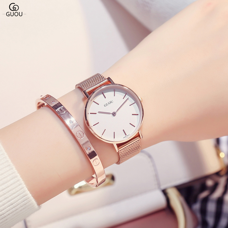 GUOU Women Watches Luxury Brand Fashion Quartz Ladies Ultra Thin Alloy Bracelet Watch Casual Clock Gift montre Femme reloj mujer 23x30cm small heat press machine combo heat transfer machine sublimation printing machine hp230a