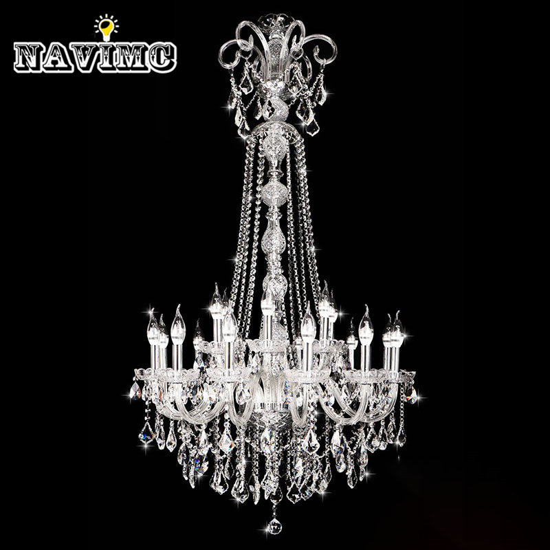Long Stair K9 Wedding Crystal Chandelier Large Foyer Modern Living Room Dining Hall Staircase chandelier Lighting candle Lamp modern crystal chandelier hanging lighting birdcage chandeliers light for living room bedroom dining room restaurant decoration