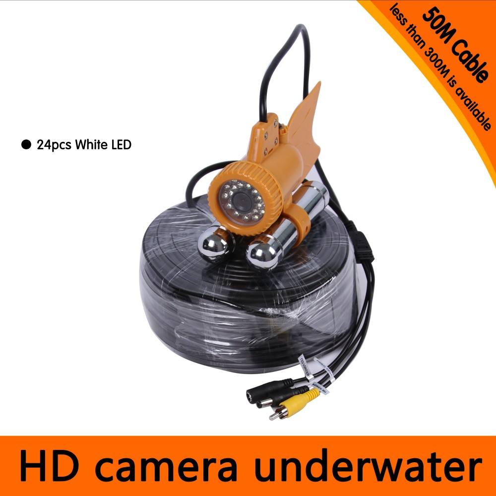 50Meters Depth Underwater Camera with Dual Lead Rodes for Fish Finder & Diving Camera Application free shipping 50meters depth underwater camera with 12pcs white leds