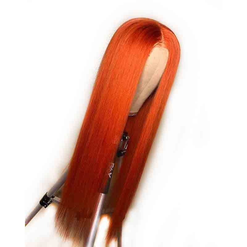 13X6 Orange Colored Lace Front Wig Brazilian Remy Long Straight Hair Wig For Black Woman Preplucked
