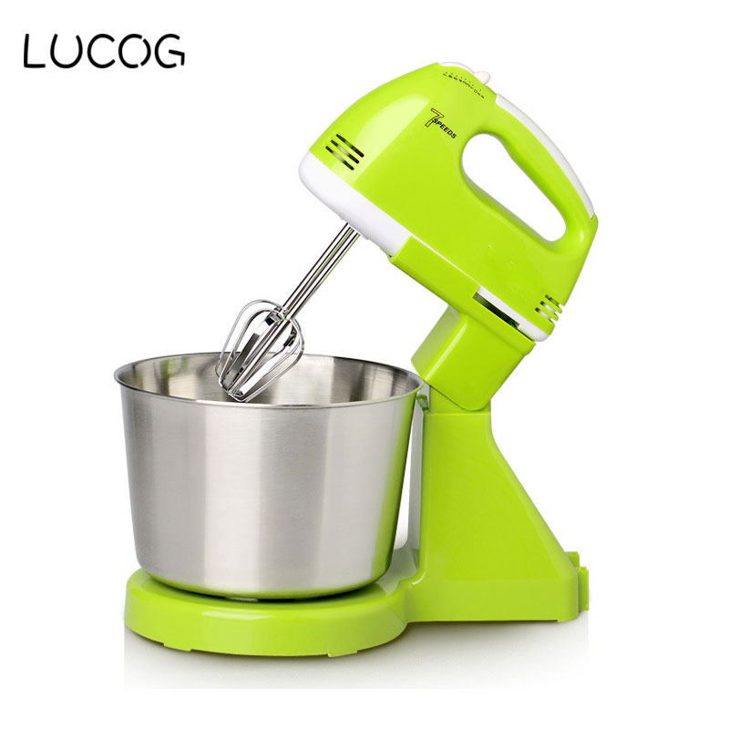 LUCOG Electric Food Mixers Egg Beater Dough Blender for Kitchen Multifunction Food Processor Mixer with Mixing Bowl 220V EU Plug stainless steel manual push self turning stirrer egg beater whisk mixer kitchen wholesale price