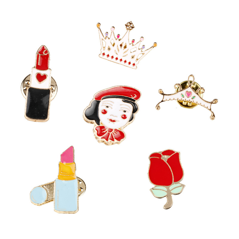 dongsheng jewelry Alloy Cartoon Brooches for Women Beauty Lipstick Drip Brooch Crown Shaped Collar Pins Christmas Gifts