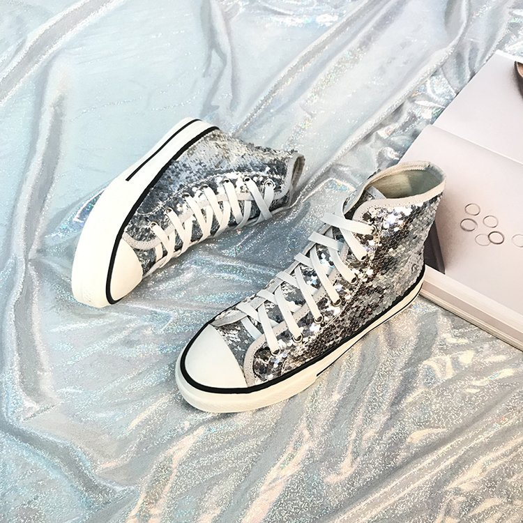 Tleni 2018 New High Top White Women Flats running Shoes Ladies Canvas Shoes lace-up Bling Bling sneaker shoes ZK-20 10