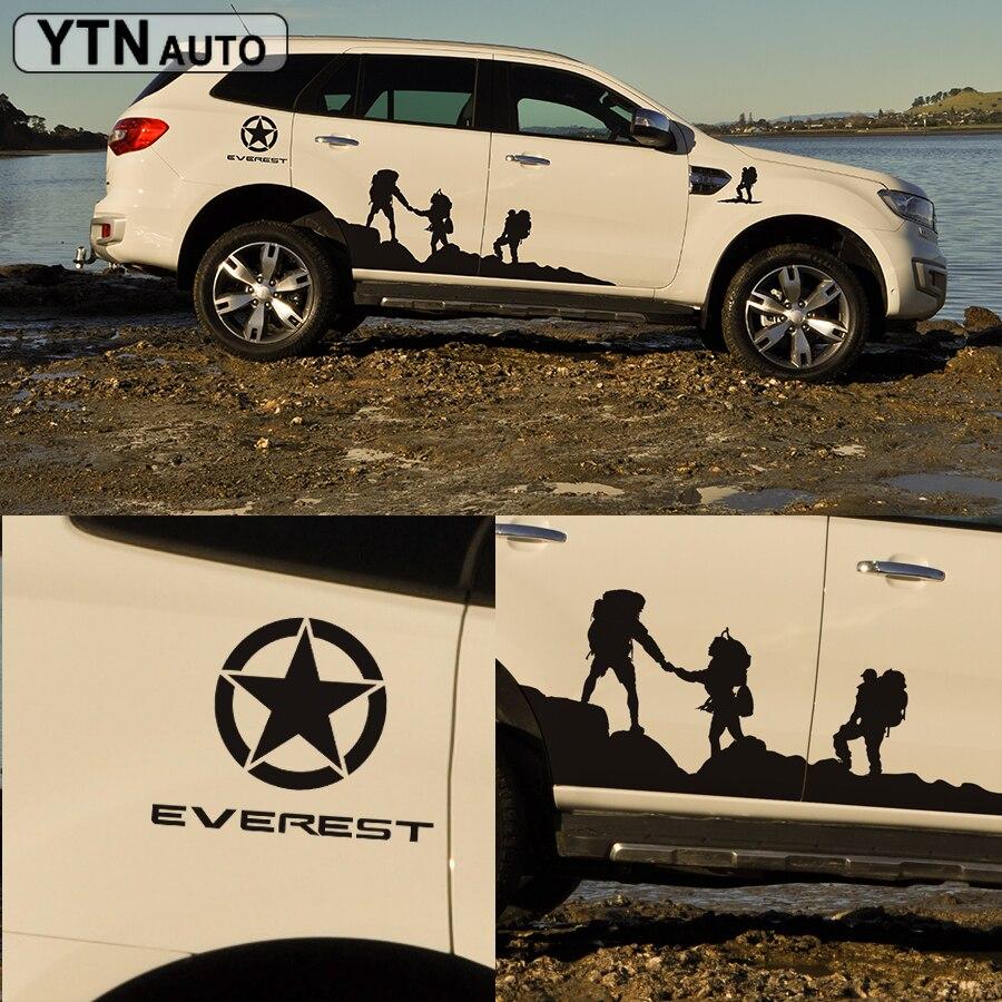 Autocollant de carrosserie latérale escalade style protéger égratignure graphique vinyle autocollant de voiture personnalisé pour ford everest 2015