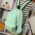 Estilo de Corea del Simple pure color del caramelo mujeres de la lona mochila escolar estudiante universitario mochila ocio