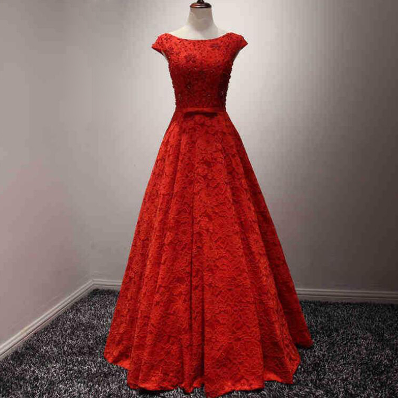 2018 Luxury Fashion Boat Neck Red Lace Sexy   Evening     Dress   Bride Slim Banquet Cap Sleeve Lace-up Long Prom   Dress
