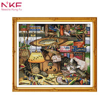 Sweet dream cat european style family decor counted print on canvas cross stitch kit patterns sale embroidery needlework set