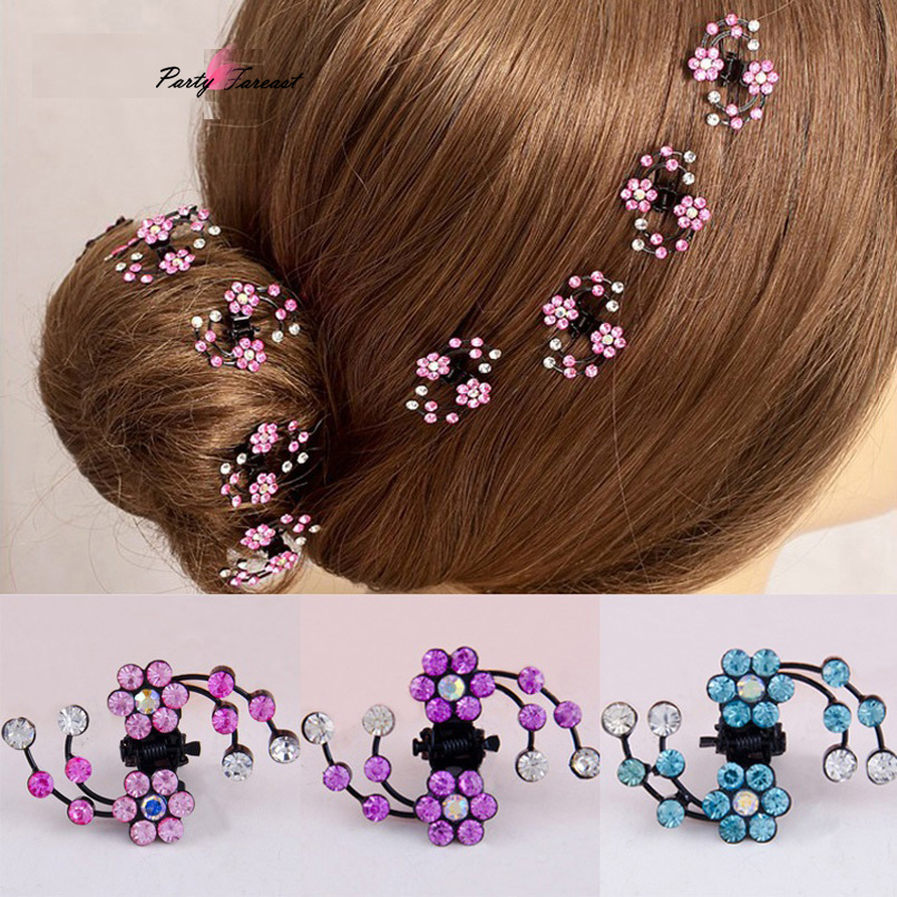 6pcs Hair Claws For Girls Rhinestones Crystal Plum Blossom Hairpins Accessories For Baby Children Cute Clips Headwear TS0823