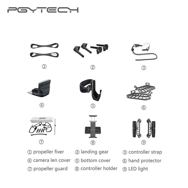 10 Types Option PGYTECH DJI Spark Controller Tablet Holder Propeller Guard Strap Camera Cover LED Light Landing Gear Accessories