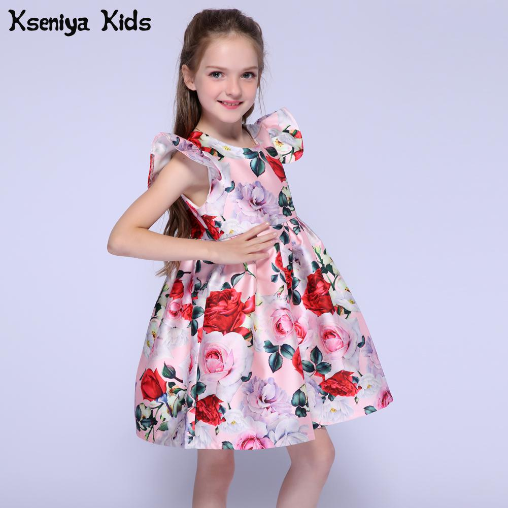 Kseniya Kids Summer Baby Girl Clothes Girls Dress Pink Flower Petal Girl Party Dresses For Weddings Children Organza Dresses jeremiah 2016 brand summer girl dress children party dress flower girls dress kids dresses for girls clothes fit for 2y 8y