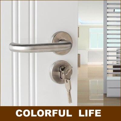 Ensembles d'horloge de porte minimaliste moderne de haute qualité, véritable acier inoxydable SUS304, maison, poignées de porte, porte de chambre, belle